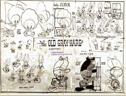 Old Gray Hare Elmer Fudd Model Sheet drawn by Tom McKimson