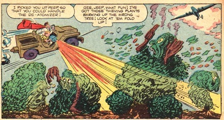 Flying car blasts anthropomorphic comic trees